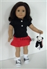 Lovvbugg Black Red Skirt Full Set with Panda 18 inch American Girl or Baby Doll Clothes