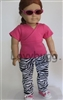 Lovvbugg Pink Top with  Zebra Jeans, Shoes and Accessories 18 inch American Girl Doll Clothes
