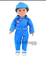 Lighter Blue NASA Flight Suit Astronaut Uniform Girl or Boy 18 inch or Bitty Baby 15 inch Doll Clothes