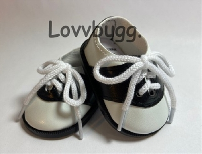 Lovvbugg Black Saddle Shoes 18 inch American Girl or Bitty Baby Born Doll Footwear