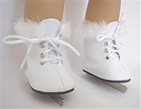Lovvbugg White Furry Fur Ice Skates 18 inch American Girl or Baby Doll Shoes