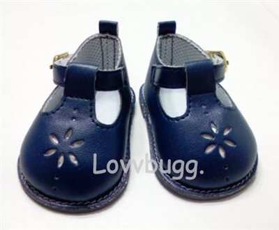 Navy Blue T Strap Mary Janes 18 inch Girl or Baby Doll Shoes
