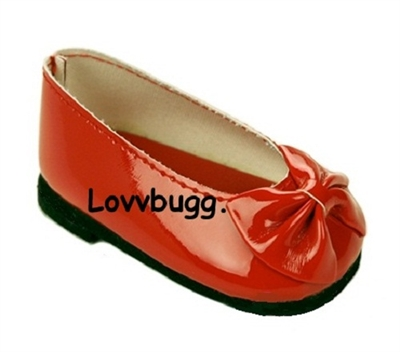 Red Patent Bow Ballet Flats 18 inch American Girl or Baby Doll Shoes