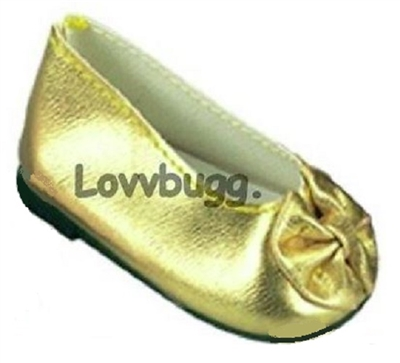 Gold Bow Ballet Flats 18 inch American Girl or Baby Doll Shoes