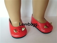 Lovvbugg Red with Rose Flats 18 inch American Girl or Baby Doll Shoes