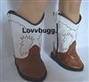 Brown and White Eagle Cowboy Western Boots 18 inch American Girl or Baby Doll Shoes