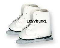 Lovvbugg White Ice Skates 18 inch American Girl or Baby Doll Shoes