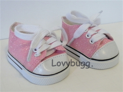 Lovvbugg Pink Glitter Sparkly Sneakers for American Girl 18 inch and Bitty Baby 15 inch Doll Shoes Clothes