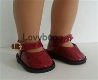 Lovvbugg Deep Red Patent Mary Janes 18 inch American Girl or Baby Doll Shoes