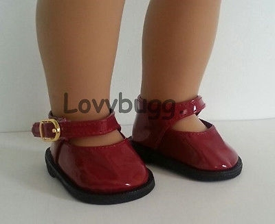 Lovvbugg Deep Red Patent Mary Janes for American Girl 18 inch and Bitty Baby 15 inch Doll Shoes Clothes