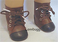 SALE New Style Brown Two Tone Lace-Up Boots 18 inch Girl or Baby Doll Shoes