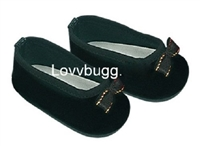 SALE Lovvbugg Black Velvet Bow Ballet Flats 18 inch Girl or Baby Doll Shoes