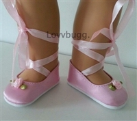 SALE Lovvbugg Pink Satin Rose Ballet Slippers-Style Shoes Girl or Baby Doll