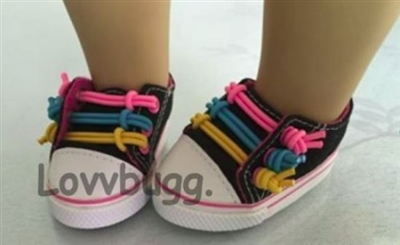 Lovvbugg Multi-Color Laces Sneakers 18 inch American Girl or Baby Doll Shoes