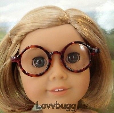 Lovvbugg Brown Tortoise Eye glasses for American Girl 18 inch and Bitty Baby 15 inch Doll Accessory