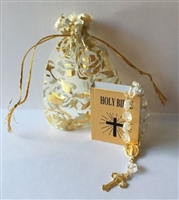 Gold Bible with Rosary in Bag 18 inch Girl or Baby Doll Religious Accessory First Communion NICE GIFT!