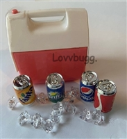 Lovvbugg Pink Cooler Ice Chest with Sodas and Ice Set 18 inch Girl Doll Camping Food Accessory