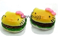 SALE Two Kitty Hamburgers 18 inch American Girl or Baby Doll Food Accessory