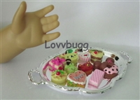 Lovvbugg 10 Treats Cakes on Tray 18 inch American Girl Doll Food Accessory