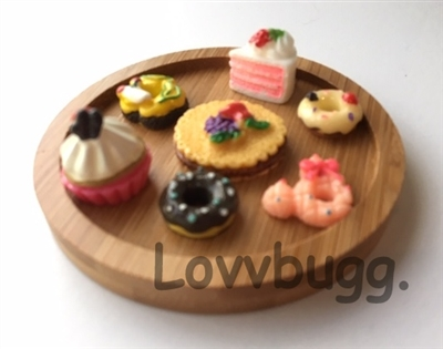Lovvbugg Special Holiday Desserts on Round Wood Tray Wellie Wishers Doll Food Accessory