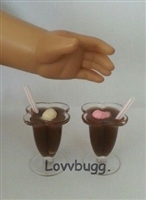 Lovvbugg 2 Root Beer Floats Drink 18 inch American Girl Doll Food Accessory