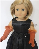 Long Brown Gloves with Fur 18 inch Girl Doll Clothes Accessory