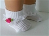 Lovvbugg White Socks with Lace and Hot Pink Rose for 18 inch American Girl and Bitty Baby