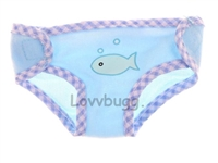 Blue Diaper with Fish for 15 inch Bitty Baby or Baby Born Doll