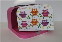 Colorful Owls Suitcase Medium Size Girl 14 to 18 inch Doll Accessores Storage