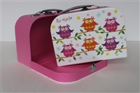 Colorful Owls Suitcase Smallest Size Girl 14 to 18 inch Doll Accessores Storage