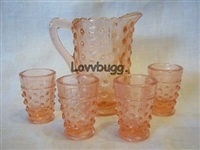 Pink Hobnail Depression Glass Mini Reproduction Lemonade Pitcher and Glasses Set Girl Doll Food Tea Party Accessory