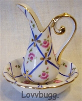 Ribbons and Roses Porcelain Mini Pitcher and Bowl Reprocution Girl Dollhouse Bedroom Accessory