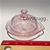 Pink Depression Glass Reproduction Cake Plate Mini Girl Doll Food Tea Party Accessory