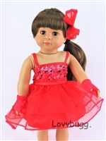 Red Dance Dress Set with Bow and Gloves Costume 18 inch Girl or Bitty Baby 15 inch Doll Clothes