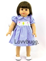Smocked Spring Dress Blue Checks and Flowers 18 inch Girl or Bitty Baby 15 inch Doll Clothes