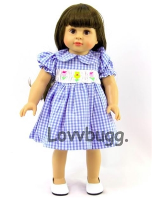 Smocked Spring Dress Blue Checks and Flowers 18 inch American Girl or Bitty Baby 15 inch Doll Clothes