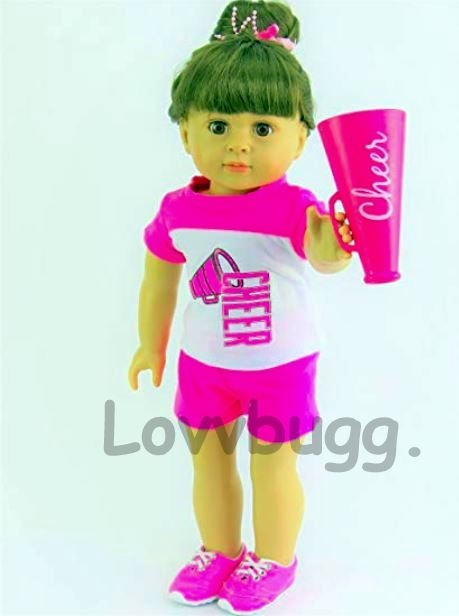 "2 IN 1 CHEERLEADER GEAR 18/"" AMERICAN GIRL DOLL ORIGINAL DRESS SHORTS MEGAPHONE"