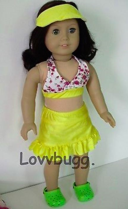 ca118857797 Yellow Swim Complete Set 5 pc for American Girl 18 inch or Bitty Baby 15  inch Doll Clothes