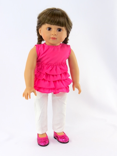 American Girl 18 in doll clothes Gymnastics Pink Purple Pant Set