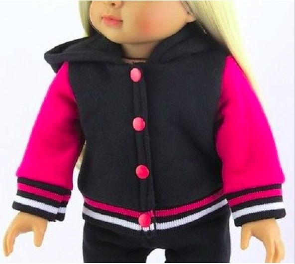 "Black and Pink Varsity Style Pant Set Fits 18/"" American Girl Doll Clothes"
