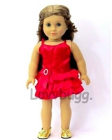 Complete Red Satin Dress with Shoes Set 18 inch Girl and Bitty Baby 15 inch Doll Clothes and Shoes