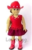 Complete Red 5 pc Cowgirl Skirt Set with Boots 18 inch Girl or Bitty Baby 15 inch Doll Clothes