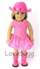 Complete Hot Pink 5 pc Cowgirl Skirt Set with Boots 18 inch Girl or Bitty Baby 15 inch Doll Clothes