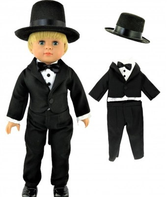 Tuxedo with Hat Set Black Tie Girl or Boy 18 inch Doll Clothes