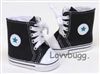 Black Chucks Hightops with Blue Star High Tops Sneakers 18 inch American Girl Boy or Baby Doll Shoes Basketball