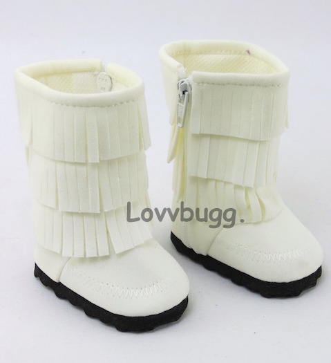 5615f2df861 White Fringe Boots for American Girl 18 inch and Bitty Baby 15 inch Doll  Shoes Clothes