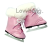 SALE Pink Furry Ice Skates 18 inch American Girl or Bitty Baby 15 inch Doll Shoes