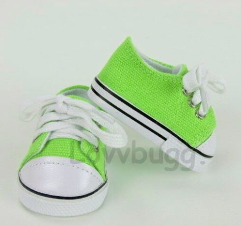 Green with White Tip Earth Shoes made for 18 inch American Girl Doll Clothes
