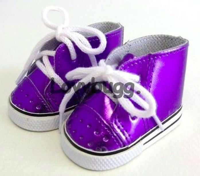 a5521cab1e117 Shiny Purple High-Top Sneakers for American Girl 18 inch and Bitty Baby 15  inch Doll Shoes Clothes
