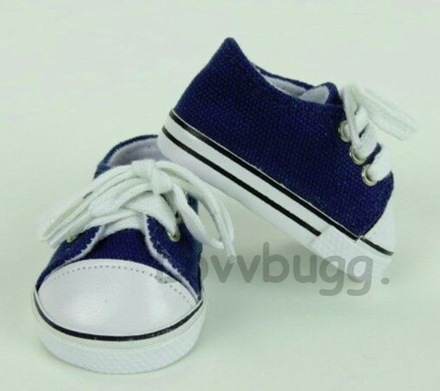 b08ebbed11221 Navy Blue Sneakers Tennis for American Girl or Boy 18 inch and Bitty Baby  15 inch Doll Shoes Clothes